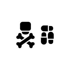 Dangerous pills vector icon. . Eps 10