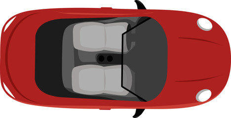 Convertible two-seater cabriolet with a top down, view from above, vector illustration, not a representation of an actual car