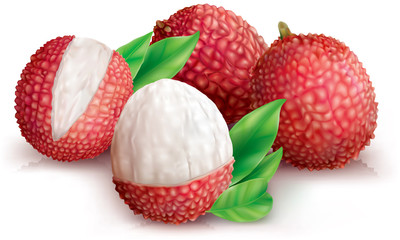 Lychees and peeled lychee