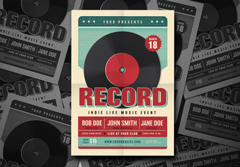 Live Music Event Flyer with Record Illustration 3