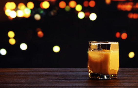 White russian cocktail on blurred