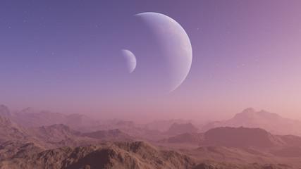 3d rendered Space Art: Alien Planet - A Fantasy Landscape