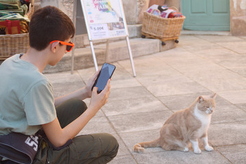 Young boy photographing ginger cat with telephone