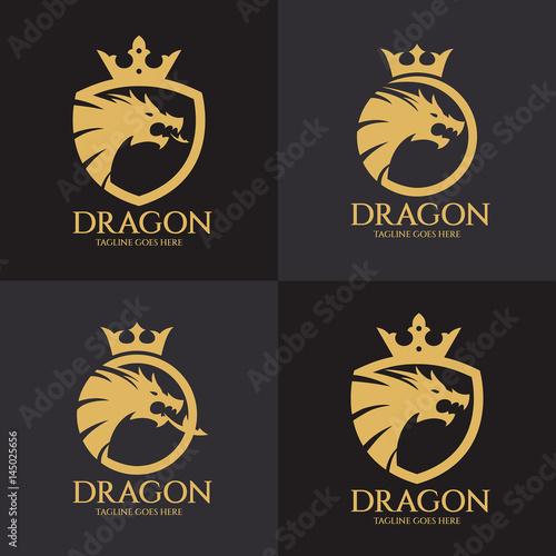 quotdragon shield logo design template dragon head logo