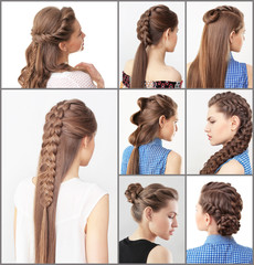 Woman with different hairstyles