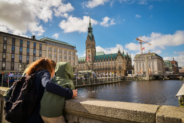 Mother and son. panoramic view of Hamburg, Germany