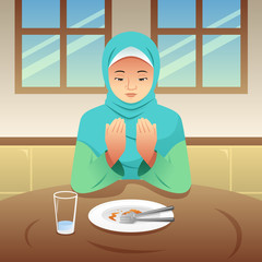 Muslim Woman Praying After Eating
