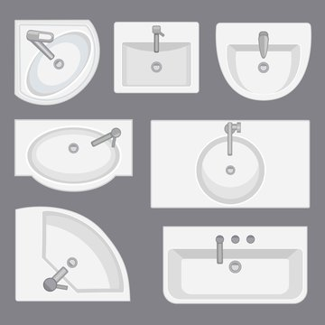 Sinks top view collection.Vector illustration in flat style. Set of different wash basin types.