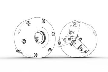 3d illustration of lathe chuks