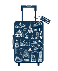 leather suitcase image with travel stickers