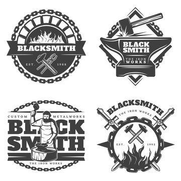 Monochrome Vintage Blacksmith Emblems Set