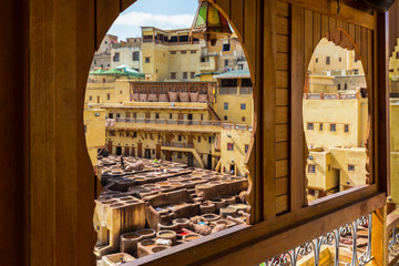 The windows on a terrace of the tanneries in Fes