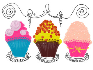 Hand drawn colorful set of cupcakes on the white background, isolated illustration painted by oil color, high quality
