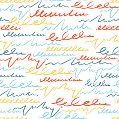 Vector colorful seamless pattern with brush strokes letter. Summer fantasy . Rainbow color on white background. Hand painted grange texture.Ink pastel elements. Fashion modern style Unusual postmodern