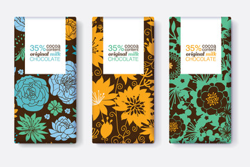 Vector Set Of Chocolate Bar Package Designs With Blue, Yellow, and Green Floral Patterns. Rectangle frame. Editable Packaging Template Collection.
