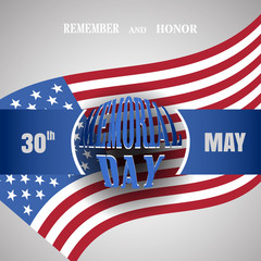 Memorial Day vector poster with convex text and blue ribbon cut from paper and shadow on the gradient gray background with usa flag.
