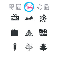 Christmas, new year icons. Gift box, fireworks.