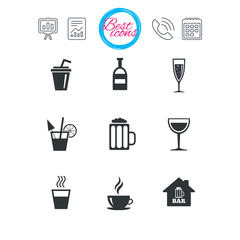 Coffee, tea icons. Alcohol drinks signs.