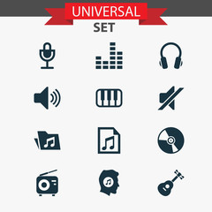 Audio Icons Set. Collection Of Equalizer, File, Instrument And Other Elements. Also Includes Symbols Such As Dossier, Keyboard, File.