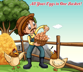 Idiom poster for all your eggs in one basket