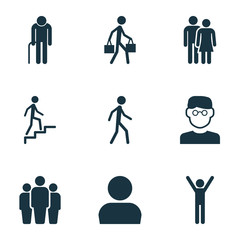 People Icons Set. Collection Of Jogging, Grandpa, Scientist Elements. Also Includes Symbols Such As Delivery, Courier, Jogging.