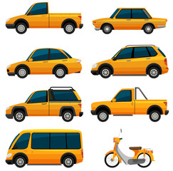 Different kinds of transportation in yellow