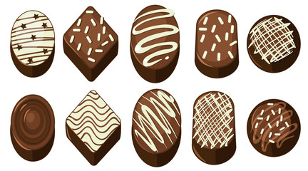 Different chocolate with various designs