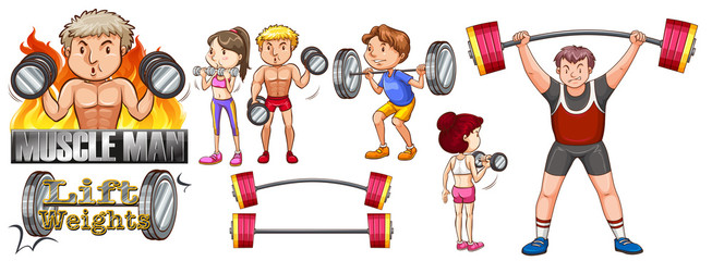 People exercise with lifting weights