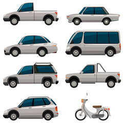 Different types of vehicles in white color