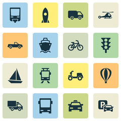 Transportation Icons Set. Collection Of Skooter, Airship, Road Sign And Other Elements. Also Includes Symbols Such As Autobus, Balloon, Airship.