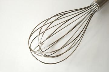 Egg whip, Wire Whisk, Egg Beater, stainless steel on white