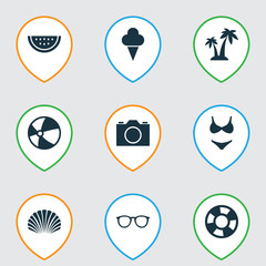 Sun Icons Set. Collection Of Goggles, Melon, Bead And Other Elements. Also Includes Symbols Such As Photo, Goggles, Palms.