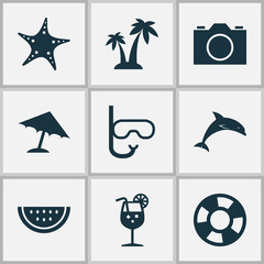 Hot Icons Set. Collection Of Vitamin, Trees, Mammal And Other Elements. Also Includes Symbols Such As Video, Camera, Cocos.
