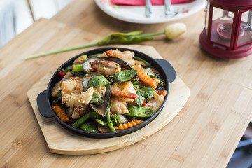 Thai basil stir fried with seafood.
