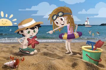 Niños en la playa jugando de vacaciones