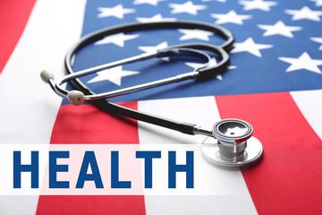 Stethoscope on American national flag