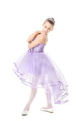 Cute little dancer on white background