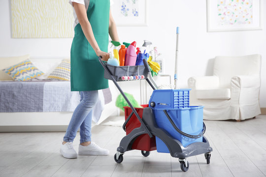 Woman with cleaning equipment at home