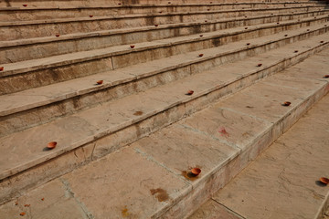 Clay plates arranged on the stairs for diwali celebration in India