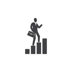 businessman walk on graph icon.