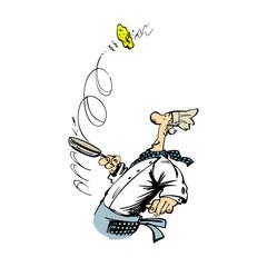 Funny chef cooking cartoon Illustration. Vector Illustration