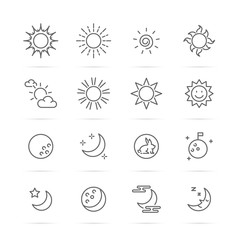 day and night vector line icons