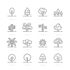tree vector line icons