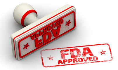 "FDA approved. Red seal and imprint ""FDA APPROVED"" on white surface. FDA - Food and Drug Administration is a federal agency of the United States Department of Health and Human Services"