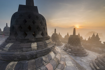 Buddhist Temple Borobudur Taken at Sunrise. Yogyakarta, Indonesia