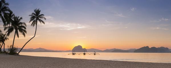 Sunrise Panorama of beautiful beach in Palawan, philippines