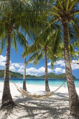 Beautiful beach with hammock in Palawan, Philippines