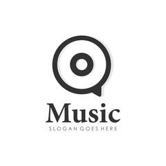 Disc music logo design vector