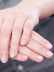 Foto op Canvas Manicure Woman presents hands nails.