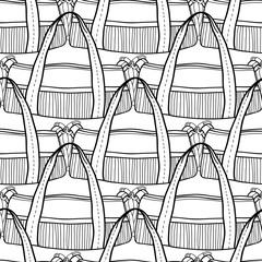 Fashion women handbag for coloring book. Black and white seamless pattern of stylish accessories. Vector